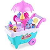 Ice Cream Toy, UMIWE 16 PCS Pretend Play Food Truck Toy Play Sets Dessert and Candy Trolley Set Toys Kids Ice Cream Cart for Toddler Girls Age 3 Years and Up