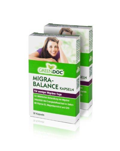 GreenDoc Migra-Balance (2er Pack) - Zur diätetischen Behandlung von Migräne (2x 30 Tabletten)