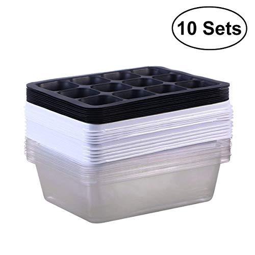 Ounona 10 pezzi vassoi per la germinazione per piantare semi con 12 fori (bianco)