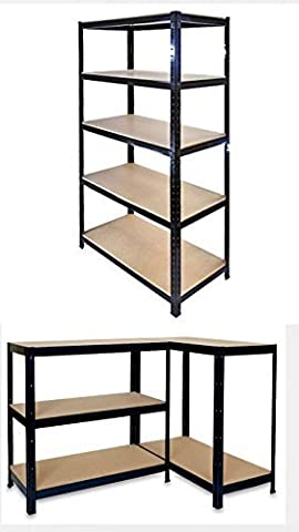 Garden Mile® Heavy Duty 5 Tier Garage Racking, Boltless Industrial Racking Shelving ,Greenhouse Staging 150cm x 70cm x 30cm Industrial Strength & MDF boards 180Kgs Per shelf,Perfect Home Storage Solution 1.5m Heigh