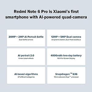 Xiaomi Redmi Note 6Pro 6,26pulgadas Dual SIM Smartphone Global Versión + 3GB 32GB + dos cámaras + 4000mAh Huella Dactilar Smartphone