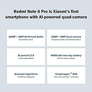 Xiaomi Redmi Note 6 pro 6,26 pulgadas Dual SIM Smartphone Global Versión + 3 GB 32 GB + dues càmeres + 4000 mAh Huella Dactilar Smartphone
