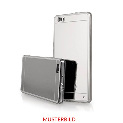 EGO® Luxus TPU Silikon Spiegel Schutz Hülle Back Case für HTC One M10 Schwarz Handy Cover mit Glanz Mirror spiegelnd, dünn und elastisch Silber
