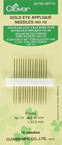 Clover 497/10 Nähnadeln lang zum Applizieren, 15 Stück 46 x 33,3 mm