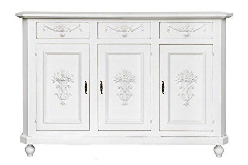Credenza in legno vintage tre ante con fregi in rilievo disponibile in diverse rifiniture ARTE DI NACCHI 4661/BG