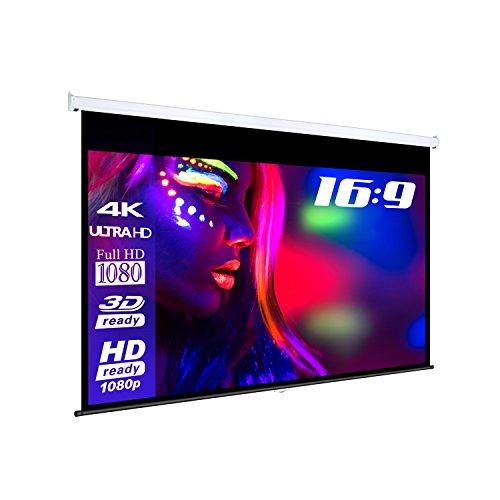 eSmart BASICS | Rolloleinwand | 200 x 113 cm inkl. 3 cm Rand rundum | Format 16:9 | Vollmaskierung | Heimkino Beamer Projektionsleinwand Rollo Leinwand LCD LED | Modell 2018