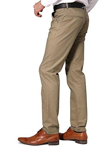OCHENTA Herren Hose Chino Slim aus Baumwolle Business Casual Cargo Freizeit Anzughose N268 Khaki