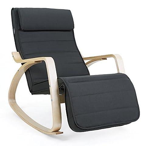 Songmics Rocking Chair Fauteuil Bascule avec Repose-pieds réglable à 5 niveaux design Charge maximum: 150 kg gris LYY10G