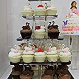 3 Tier Acrylic Square Cupcake Stand Wedding Birthday Party Crystal Clear Cake Display