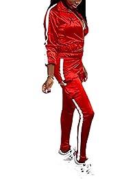 Yingshu Conjunto de Pantalones de Chaqueta de Mujer Conjuntos de Chándales de Moda Conjuntos de 2piezas Conjunto de Traje de Rayas Reflectantes