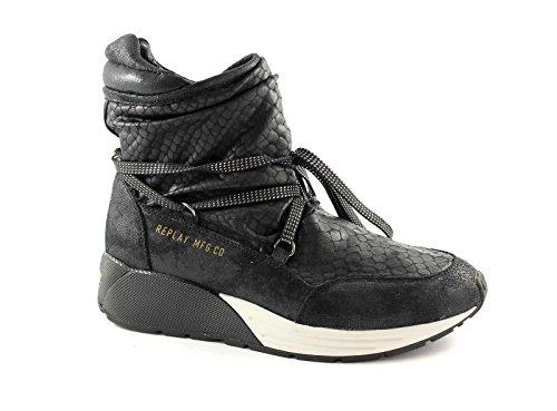 REPLAY RS360001S STARLAW Nero Stivaletti Tronchetti Donna Sneakers Mid Nero