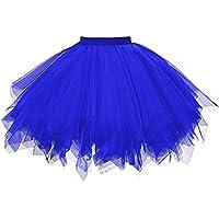 Hirolan Tüllrock Ballettrock Tutu Petticoat Vintage Partykleid Unterkleid Damen Falten Gaze Kurzer Rock Erwachsene Tutu Tanzender Rock Ballklei Abendkleid Zubehör