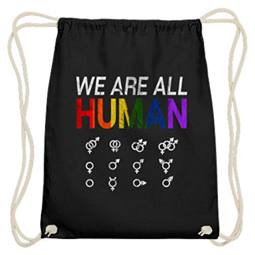 LGBT IST EIN MENSCHENRECHT T-Shirt HOMO - NA UND? GESCHENK - Baumwoll Gymsac -37cm-46cm-Schwarz