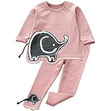 Ropa De Bebe, BBsmile La Ropa Infantil Del Niña 2pcs Los Sudaderas Elefante Imprimir Camisetas Manga Larga Tops + Pantalones para 3-7 Años (6T, Rosa)