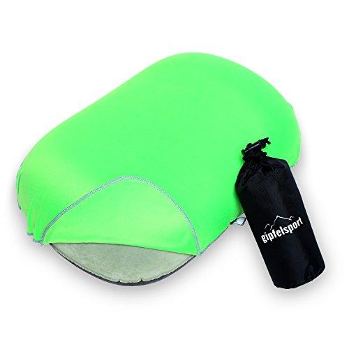 gipfelsport Campingkissen - Reisekissen I Aufblasbares Kissen für die Reise oder Camping I grün mit Bezug