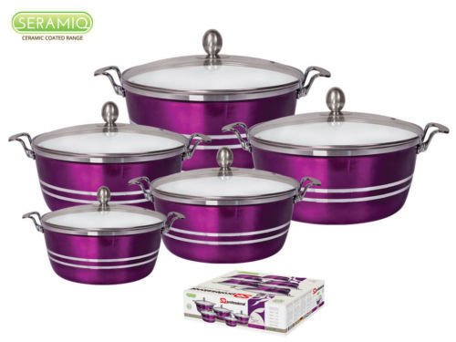 Solid Die Cast Metallic Colour White Ceramic Coated Casserole Set 5 Pieces Purple