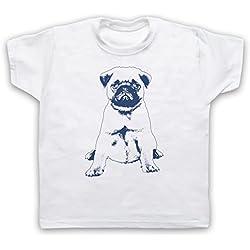 Pug Dog Cute Camiseta para Niños, Blanco, 1-2 Años