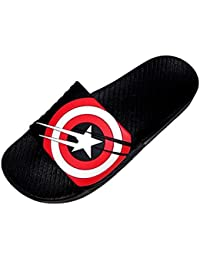 HALO NATION Avengers Captain America Shield Strap Mens Slip On Casual Slippers
