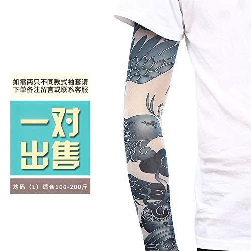 JinRui-Sport Tattoo Sleeve Tattoo Manschette Blume Arm Tattoo, L, fluoreszierend grün 34 2 Packungen -