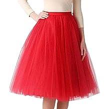 VJGOAL Moda Casual de Las Mujeres Color sólido Gasa Plisada hasta la  Rodilla Falda de Tul a201e66e2b8f
