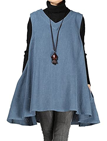 Vogstyle Women's New Cotton Linen Baggy Vest with Pockets Sleeveless