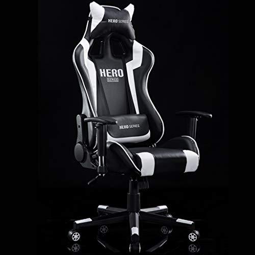 Racing Gaming Stuhl, Racing Sport Stil PU-Leder Swivel Bürostuhl mit Verstellbaren Kopf Kissen & beweglichen Lendenkissen Computer Task Chair (schwarz) - Leder Swivel Sessel Stühle