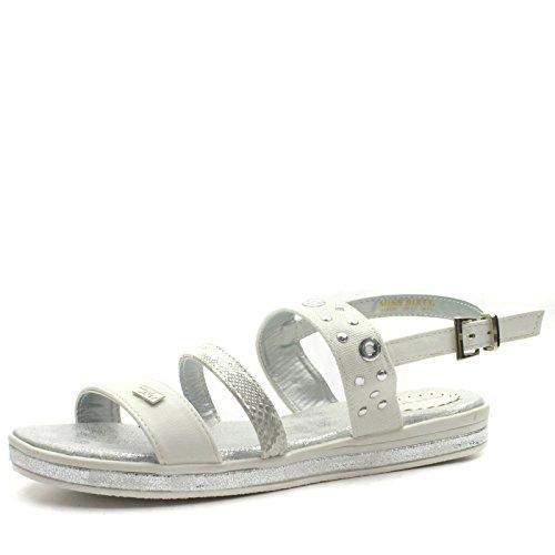 MS955 Miss Sixty Girls Flat Sling Back Sandal in White Silver Trim Taglia 35