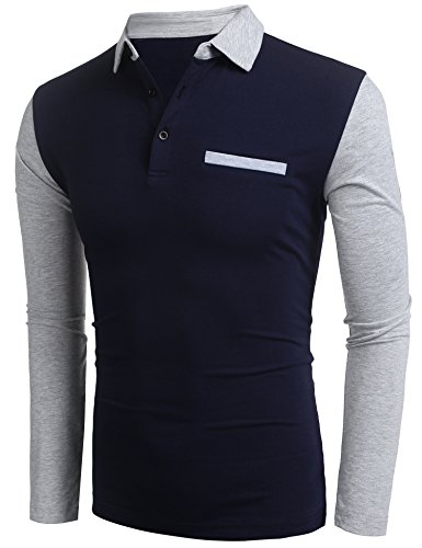 Burlady Tshirt Henleyshirt Langarmshirt mit Knopf Basic Longsleeve Shirt mit Henley Ausschnitt Herren 2 in 1 Sport Langarm Shirts Freizeit Männer 72-Dunkleblau