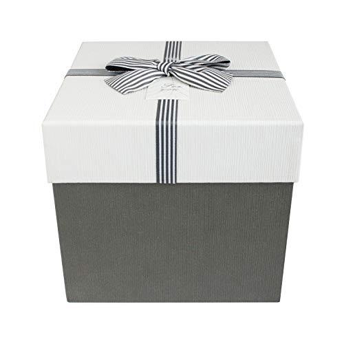 Emartbuy Starrer Luxus Quadratische Präsentations-Geschenkbox, 19,5 cm x 19,5 cm x 18 cm, Weiße Schachtel Mit Dunkelgrauem Deckel, Schokoladenbrauner Innenraum Und Gestreiftes Dekoratives Bogen-Band