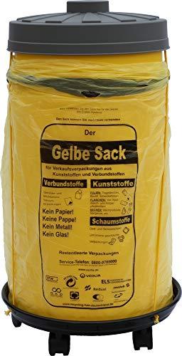 *Sacktonne gelb mit Rollwagen und Deckel, Müllsackständer, Gelber Sack, Mülltonne, Wertstoffbehälter*