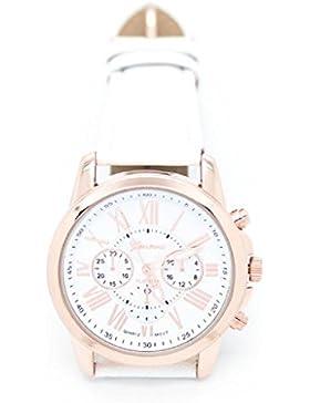 Covermason Damen Quarz Armbanduhr Uhr Römische Zahlen Faux Leder Analog (Weiß)