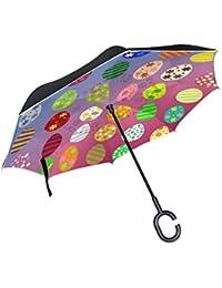 My Daily Paraguas invertido Doble Capa para Coches, Paraguas invertido, Colorido, Huevos de
