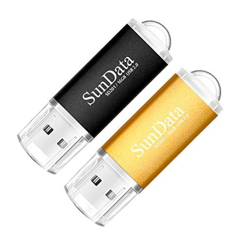 SunData USB Stick 16GB 2 Stück USB 2.0 Speicherstick Flash-Laufwerk Memory Stick (2 Mischfarben: Schwarz, Gold) -