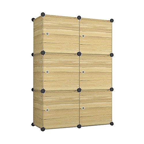 HENGMEI Kleiderschrank Schrank Steckregal Schuhschrank Regalsystem Garderobe mit Holz -Muster (6 Boxen mit Tür)