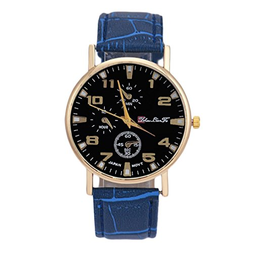 Coversolate Banda de cuero unisex de cuarzo analógico reloj del negocio azul