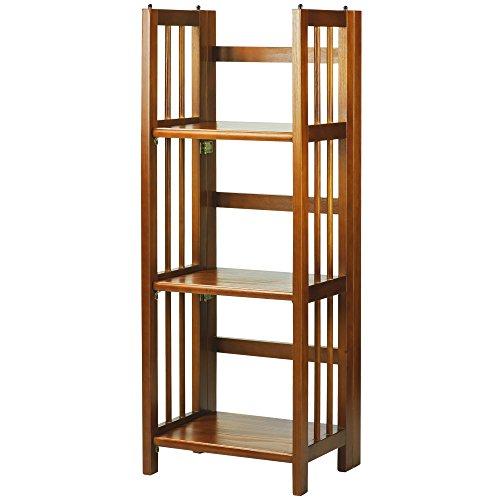 Casual Home 3Regal faltbar stapelbar Bücherregal, Honey Oak, 14-inch - Oak Media Storage