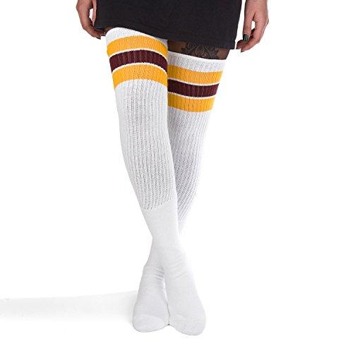 Skatersocks Damen Overknees 35 Inch Kniestrümpfe Tube Socken weiß gelb maroon (Damen Maroon Socken)