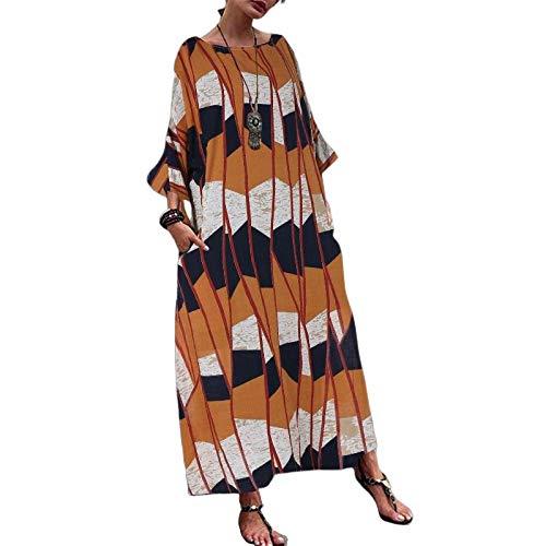 FeiXing158 Sexy Sommerkleid Frauen Tunika Gedruckt Lange Maxi Kleid Hülse Mit DREI Vierteln Strandurlaub Vestidos Plus Größe S 5XL-in Kleider -