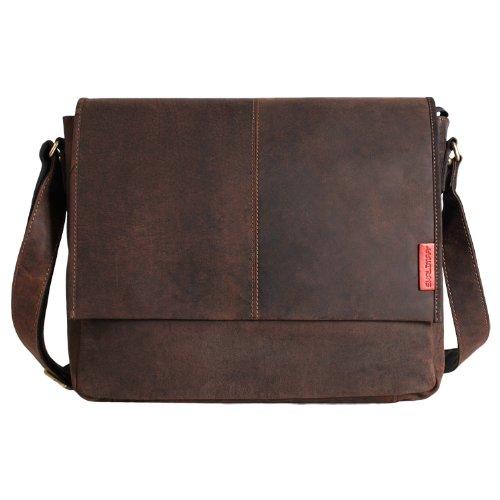 Messenger-Bag / Büchertasche aus geöltem Buffalo Leder 38x29x11 cm von Outback Model: Kalgoorlie, Farbe / Colour:Dark Muskat