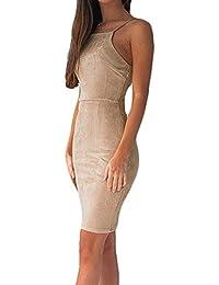 Mujer Vestidos De Noche Largo Corto Moda Bonita Fiesta Vestido Coctel Sin  Mangas Sling Slim Fit Espalda Descubierta Paquete De… 17bf7e6372cd
