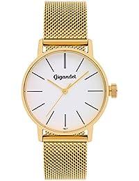 Gigandet Damenuhr gold silber, Analog Quarz-Uhrwerk mit Milanaise Edelstahlarmband, Damen Uhr flach und zeitlos, Trend Frauen, G43-007