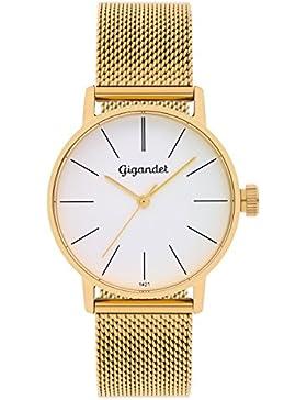 Gigandet Damenuhr gold silber, Analog Quarz-Uhrwerk mit Milanaise Edelstahlarmband, Damen Uhr flach und zeitlos...