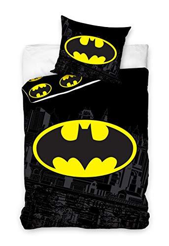 Batman Bettwäsche-Set, Wendemotiv, Bettbezug 135x200cm, Kopfkissenbezug 80x80cm,