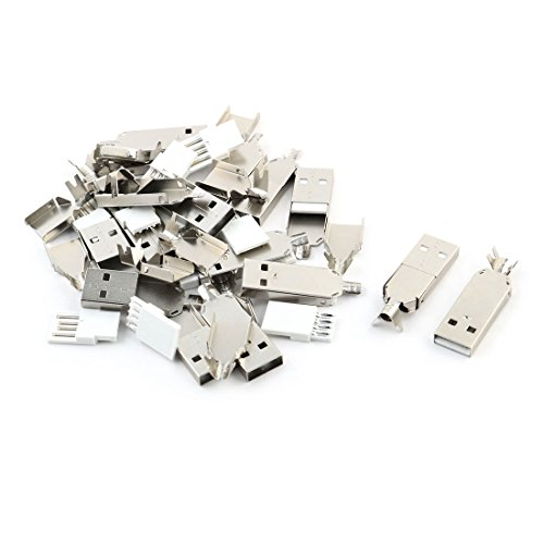 sourcing map DIY 15 Sätze Löt-USB-Typ A Stecker-Stecker w Metall-Shell DE de Lot Usb