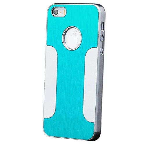 iCues Apple iPhone SE / 5S / 5 |  Chrom Alu Case Türkis | [Display Schutzfolie Inklusive] Chrome CNC Aluminium Metall Metallic Schutzhülle Hülle Cover Schutz (Chrome-iphone-kopfhörer)