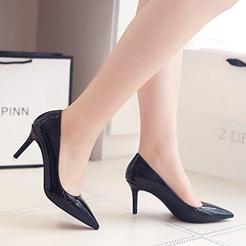 Oasap Women's Pointed Toe Stiletto Heels Slip on Low Cut Pumps Pink