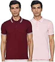 Amazon Brand - Symbol Men's Solid Regular Fit Tipping Collar Polo (Combo Pack o