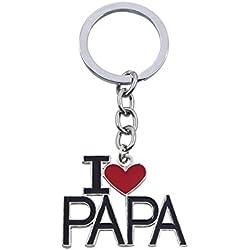"""Leisial Llaveros Acero Inoxidable """"I Love PAPA"""" Regalo Día del Padre Día de San Valentín Cumpleaños Aniversario de Boda (#2)"""