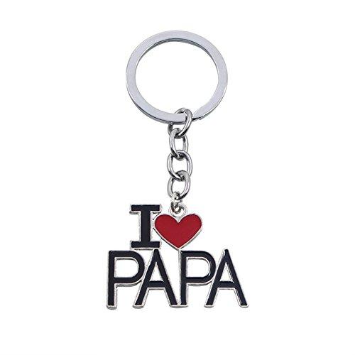 """Leisial Llaveros Acero Inoxidable """"I Love MOM"""" Regalo Día del Padre Día de San Valentín Cumpleaños Aniversario de Boda (#2)"""