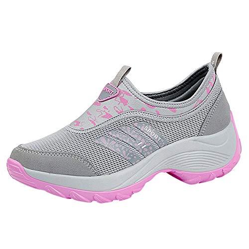 Sllowwa Damen Turnschuhe Atmungsaktiv Laufschuhe Leichtgewichts Sportschuhe Freizeitschuhe Atmungsaktive Letter Running Sport Turnschuhe(Grau,42)